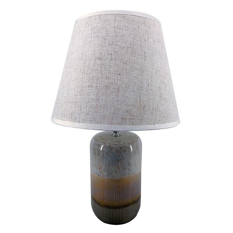 Eπιτραπέζιο φωτιστικό κεραμικό-υφασμάτινο σε γκρι χρώμα Φ25x37