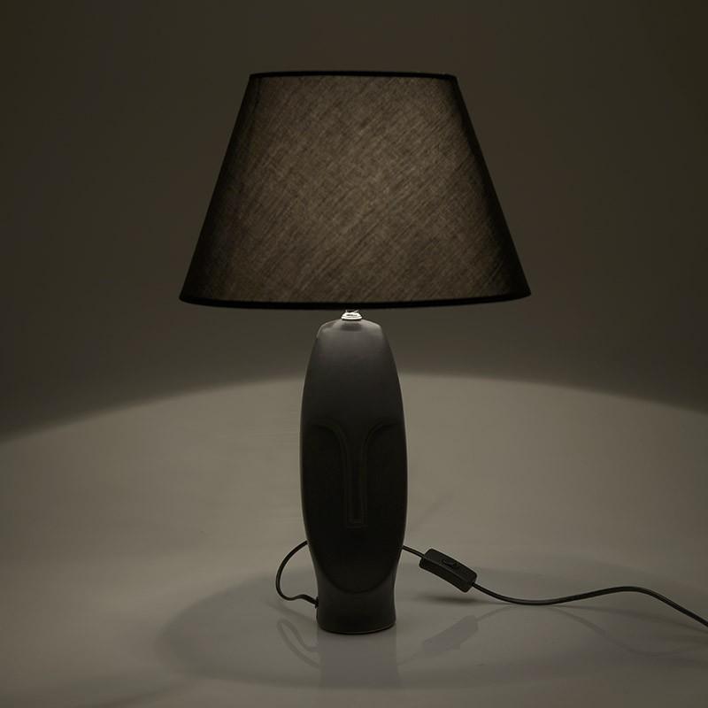 Eπιτραπέζιο φωτιστικό κεραμικό σε μαύρο χρώμα Φ35x56