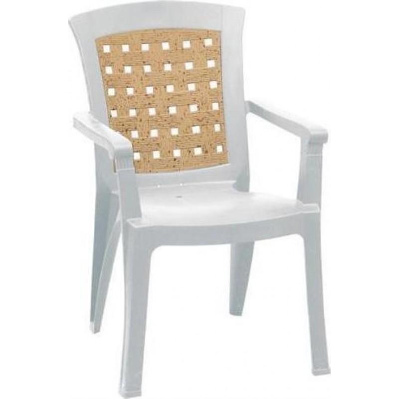"""Πολυθρόνα """"ΝΑΤΑΛΙΑ"""" από πλαστικό με ψάθα σε χρώμα λευκό 60x67x89"""