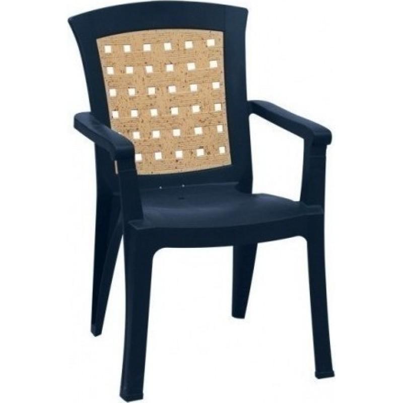 """Πολυθρόνα """"ΝΑΤΑΛΙΑ"""" από πλαστικό με ψάθα σε χρώμα μπλε 60x67x89"""
