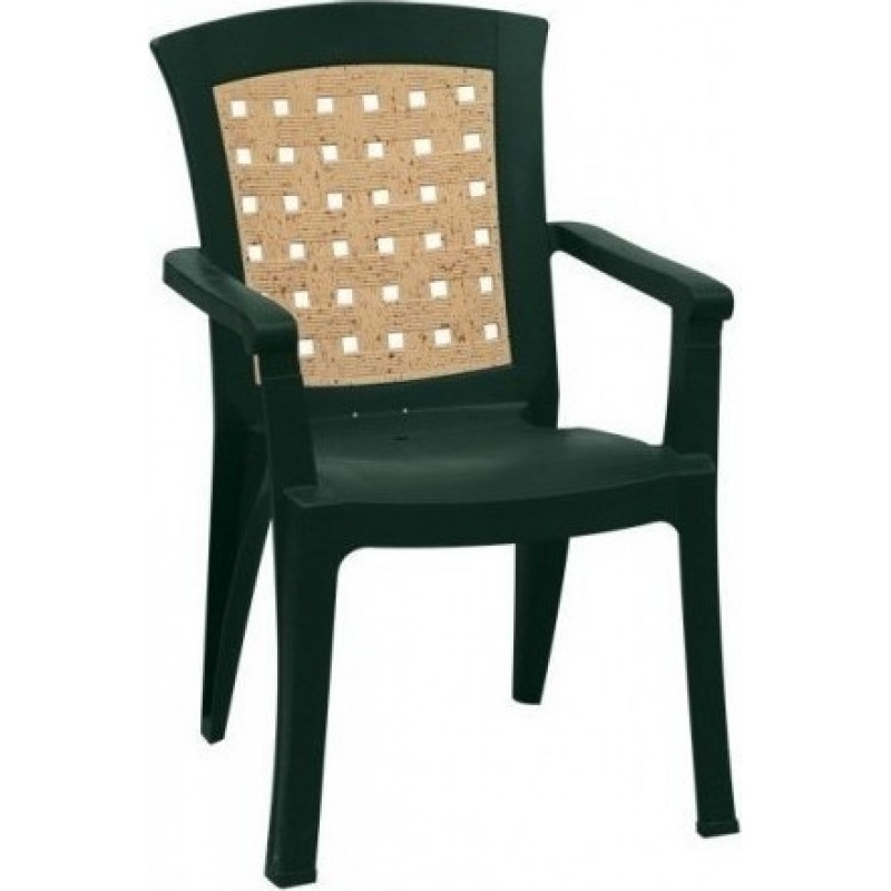 """Πολυθρόνα """"ΝΑΤΑΛΙΑ"""" από πλαστικό με ψάθα σε χρώμα πράσινο 60x67x89"""