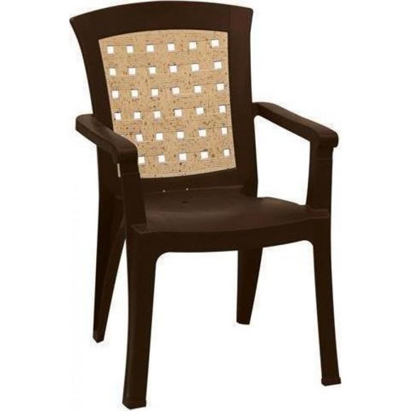 """Πολυθρόνα """"ΝΑΤΑΛΙΑ"""" από πλαστικό με ψάθα σε χρώμα καφέ 60x67x89"""