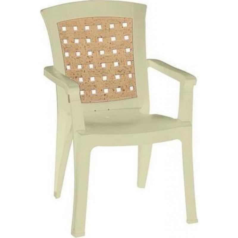 """Πολυθρόνα """"ΝΑΤΑΛΙΑ"""" από πλαστικό με ψάθα σε χρώμα μπεζ 60x67x89"""