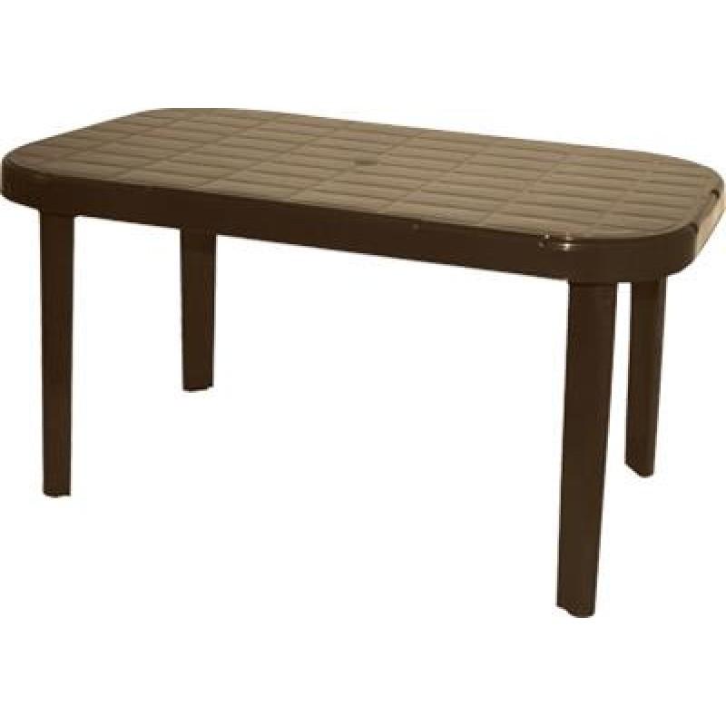 """Τραπέζι """"ΜΥΚΟΝΟΣ"""" ορθογώνιο από πλαστικό σε χρώμα καφέ 140x85"""