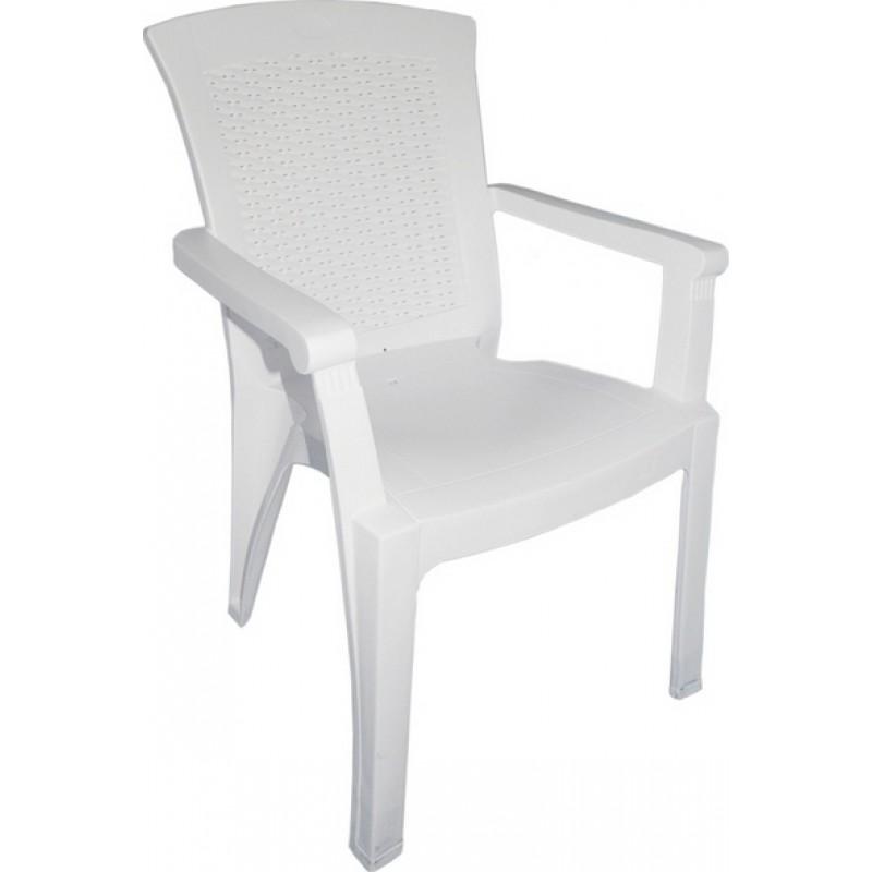 """Πολυθρόνα κήπου """"ΜΟΝΙΚΑ"""" από πλαστικό σε χρώμα λευκό 60x67x89"""