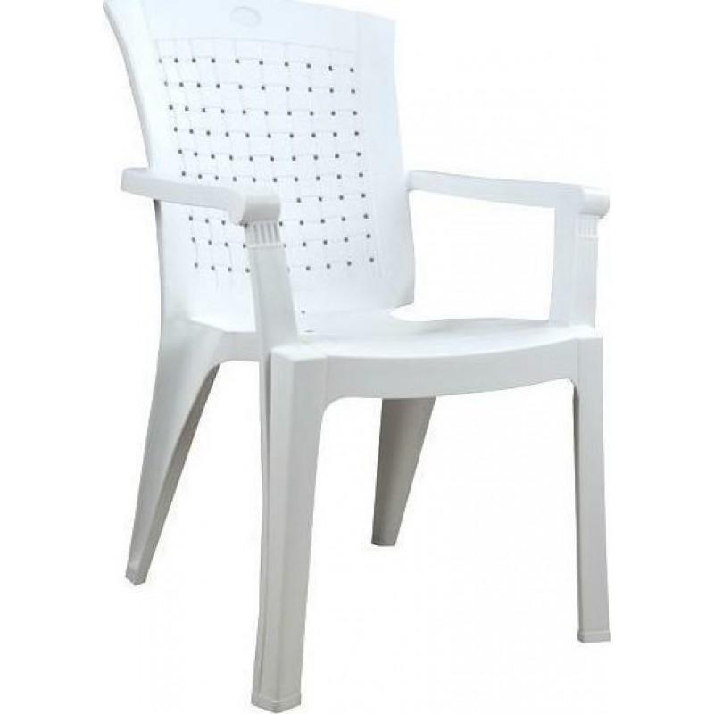 """Πολυθρόνα κήπου """"ΒΑΛΕΡΙΑ"""" από πλαστικό σε χρώμα λευκό 60x67x89"""