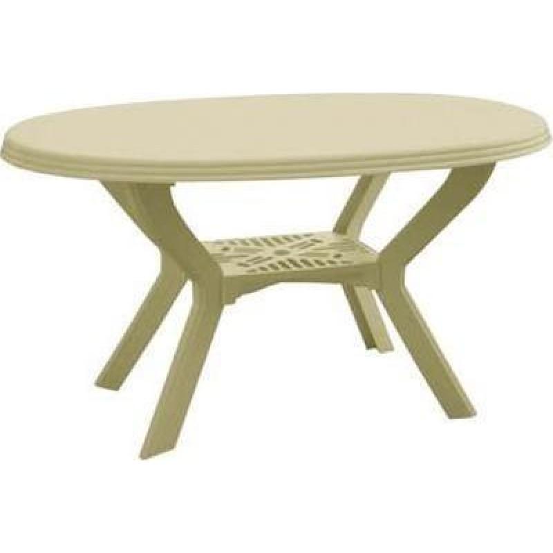 """Τραπέζι """"ΣΑΜΟΣ"""" πλαστικό οβαλ σε χρώμα μπεζ 140x90"""