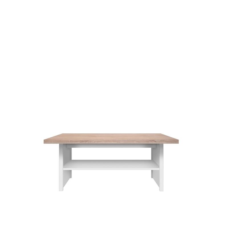 """Τραπέζι σαλονιού """"LAW"""" σε χρώμα λευκό-σονόμα 115x55x48"""