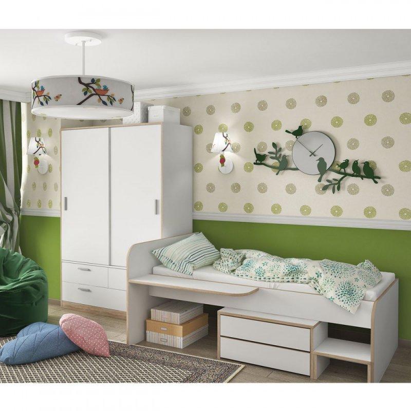 Κρεβάτι μονό σε λευκό-σονόμα χρώμα 127.6x204.5x90.3