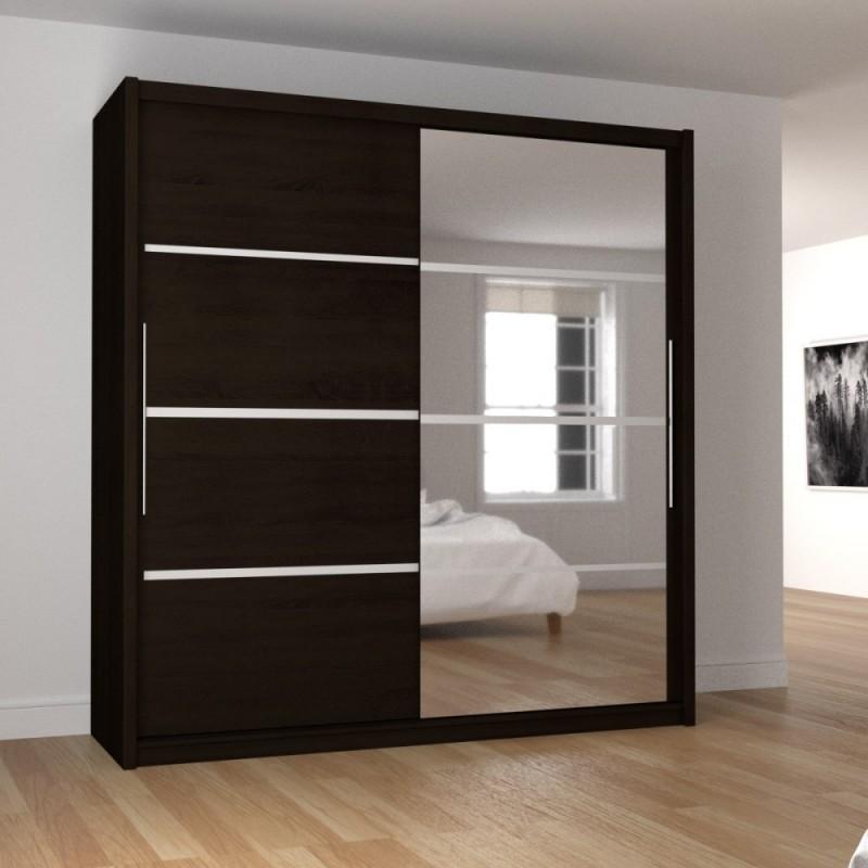 """Ντουλάπα """"ILONA"""" δίφυλλη με συρόμενες πόρτες και καθρέφτη, χρώματος βέγγε 205x61x215"""