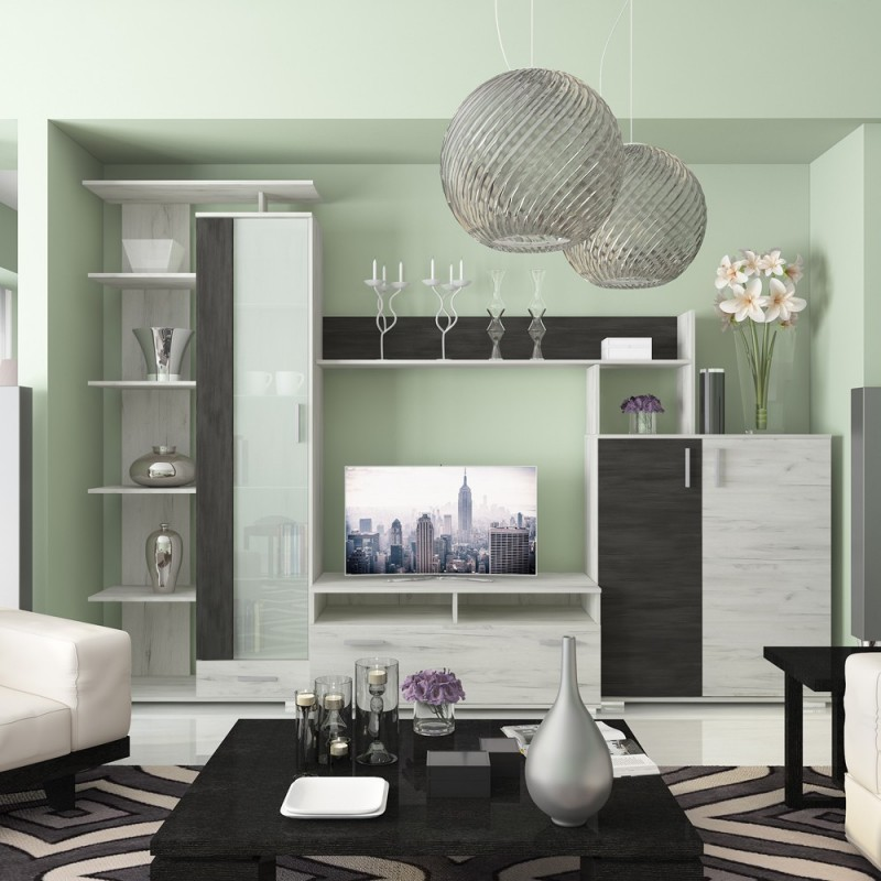 """Σύνθεση TV """"POLO""""σε χρώμα λευκό δρυς-γκρι 290x46.5x206"""
