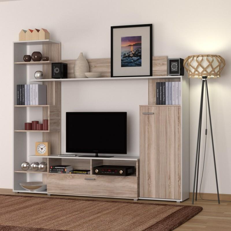 """Σύνθεση TV """"ASTRA"""" χρώματος sonoma-λευκό 216x35x184"""