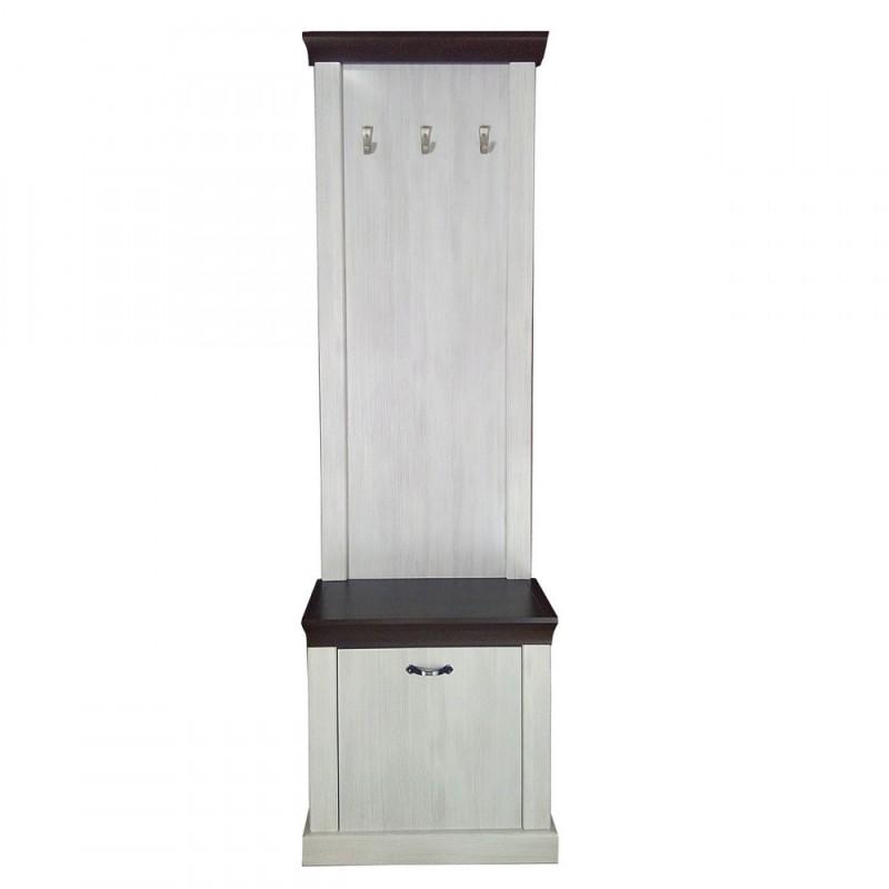 Έπιπλο εισόδου με κρεμάστρα χρώματος νορβηγικό λευκό-δρυς καρυδιά 69x31x200