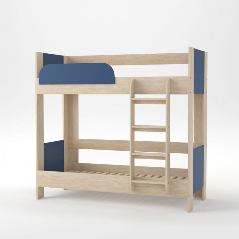 """Κρεβάτι-κουκέτα """"DOMINO"""" σε χρώμα δρυς-μπλέ 195x98x182.5"""