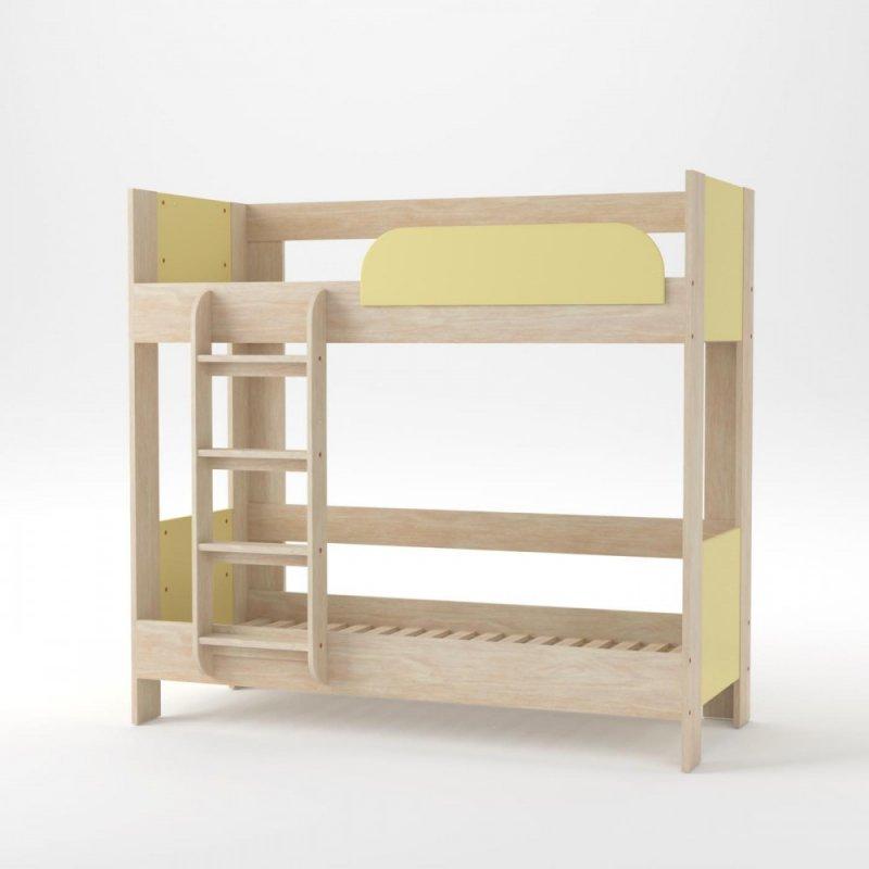 """Κρεβάτι-κουκέτα """"DOMINO"""" σε χρώμα δρυς-κίτρινο 195x98x182.5"""