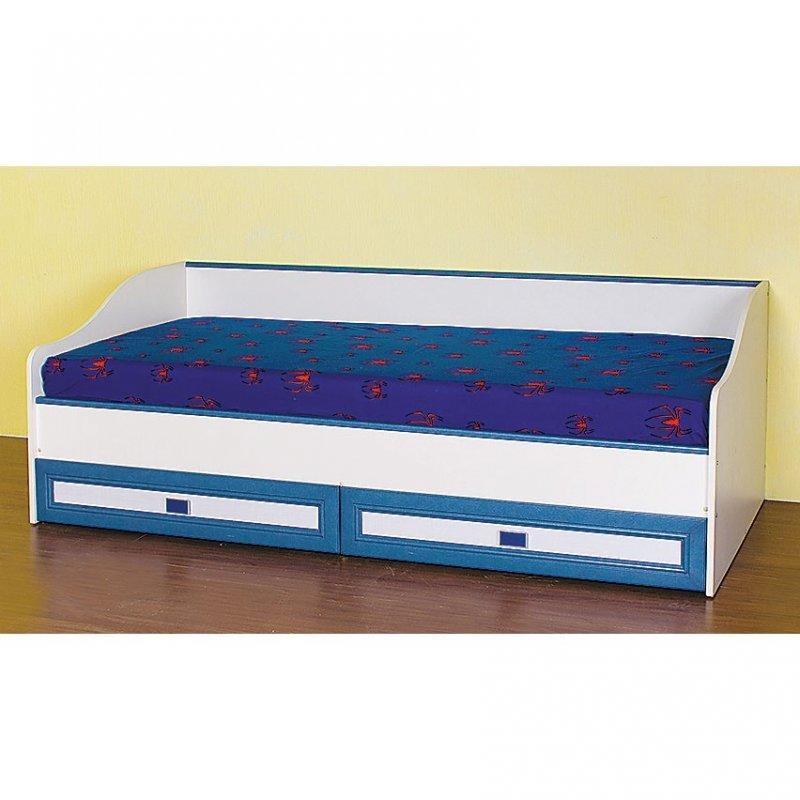 """Κρεβάτι """"TWINS"""" με αποθηκευτικό χώρο σε χρώμα μπεζ-μπλε 86x193x65"""