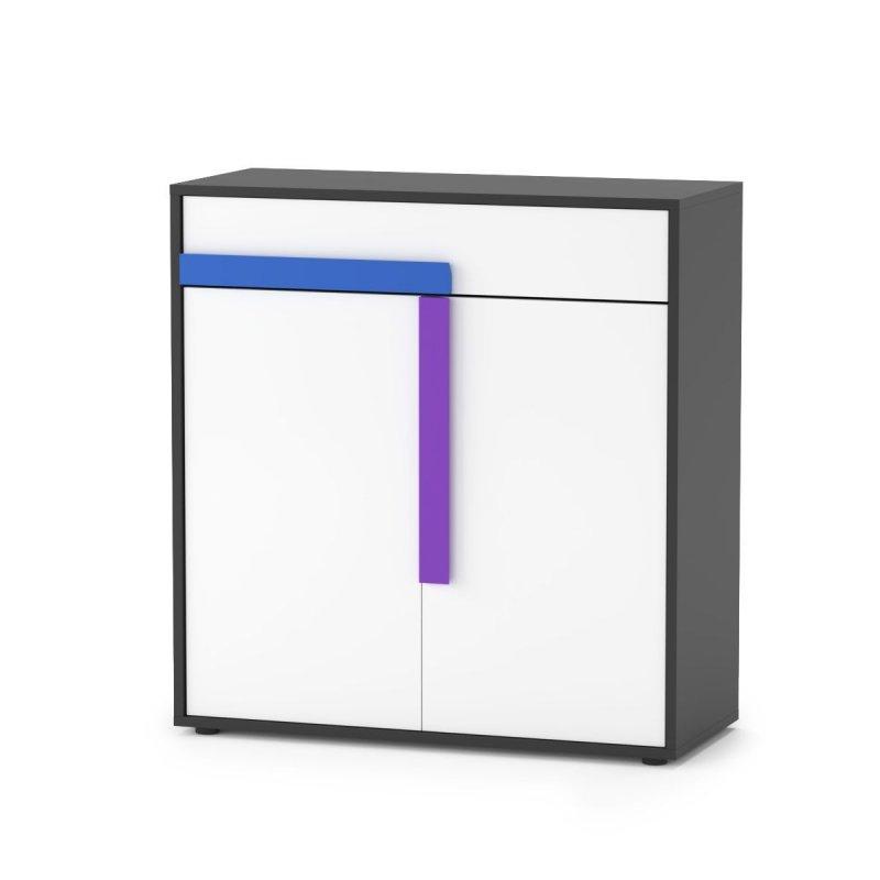 """Ντουλάπι """"ALEX"""" σε χρώμα γραφίτης-δρυς-σονομα-λευκό 84x36x87"""