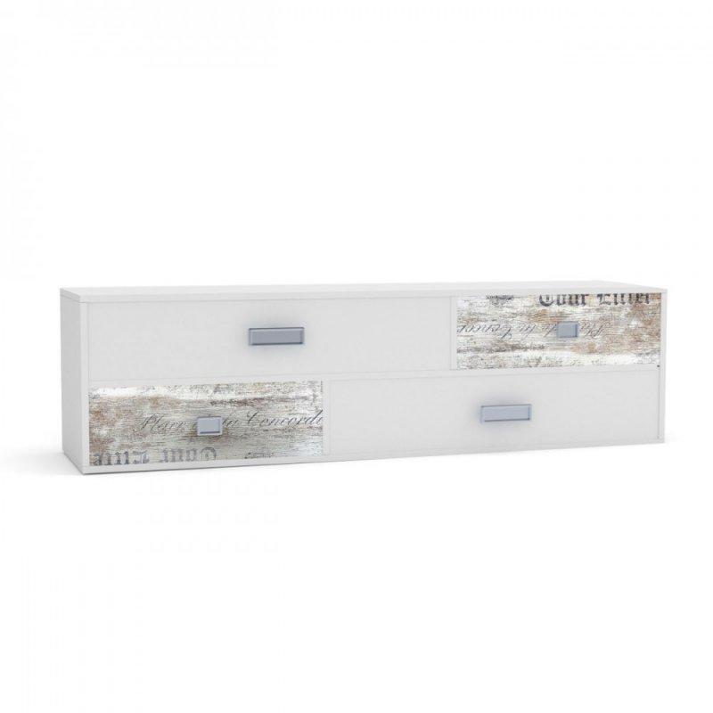 """Έπιπλο TV/συρταριέρα """"PUMP"""" σε χρώμα λευκό-λευκό αντικέ με επιγραφές 150x40x43"""