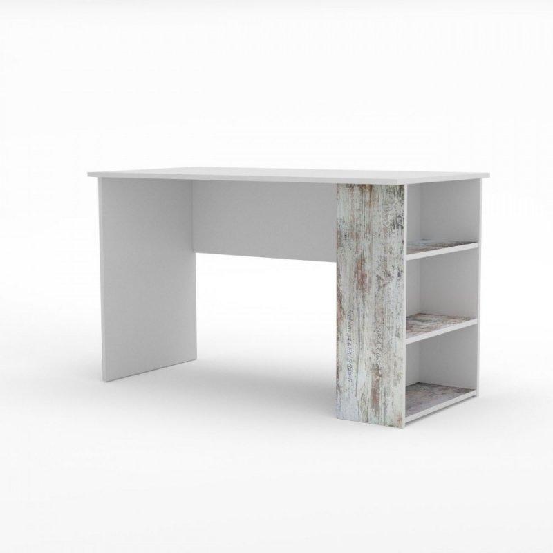"""Γραφείο """"PUMP"""" σε χρώμα λευκό-αντικέ λευκό με επιγραφές 120x60x73"""