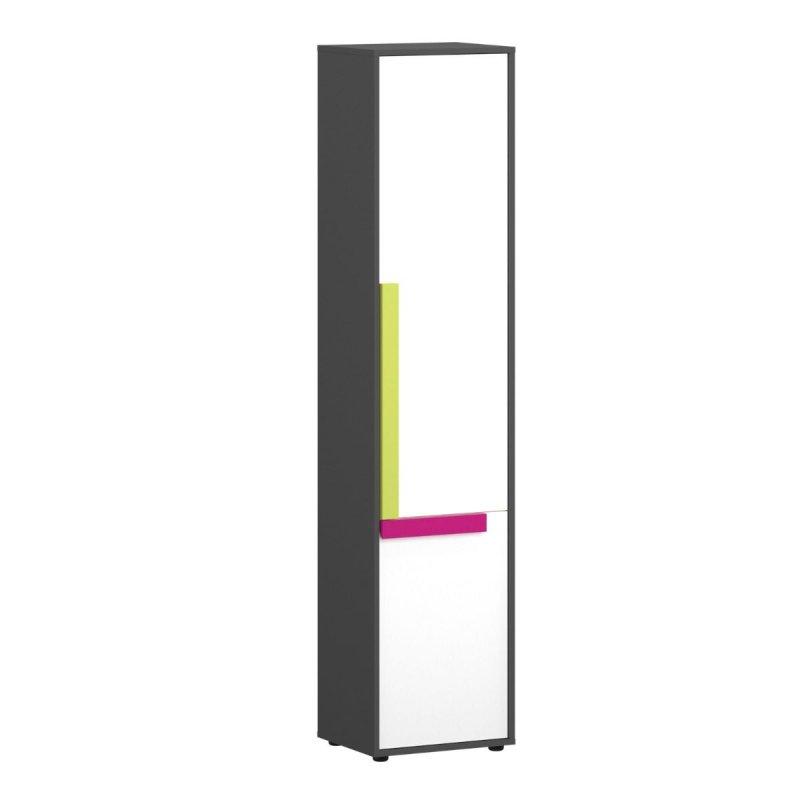 """Ραφιέρα """"ALEX"""" χρώματος γραφίτης δρυς σονόμα λευκό 44x36x194"""