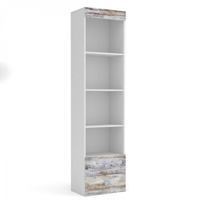 """Βιβλιοθήκη """"PUMP"""" σε χρώμα λευκό-λευκό αντικέ με επιγραφές 50x34x198"""