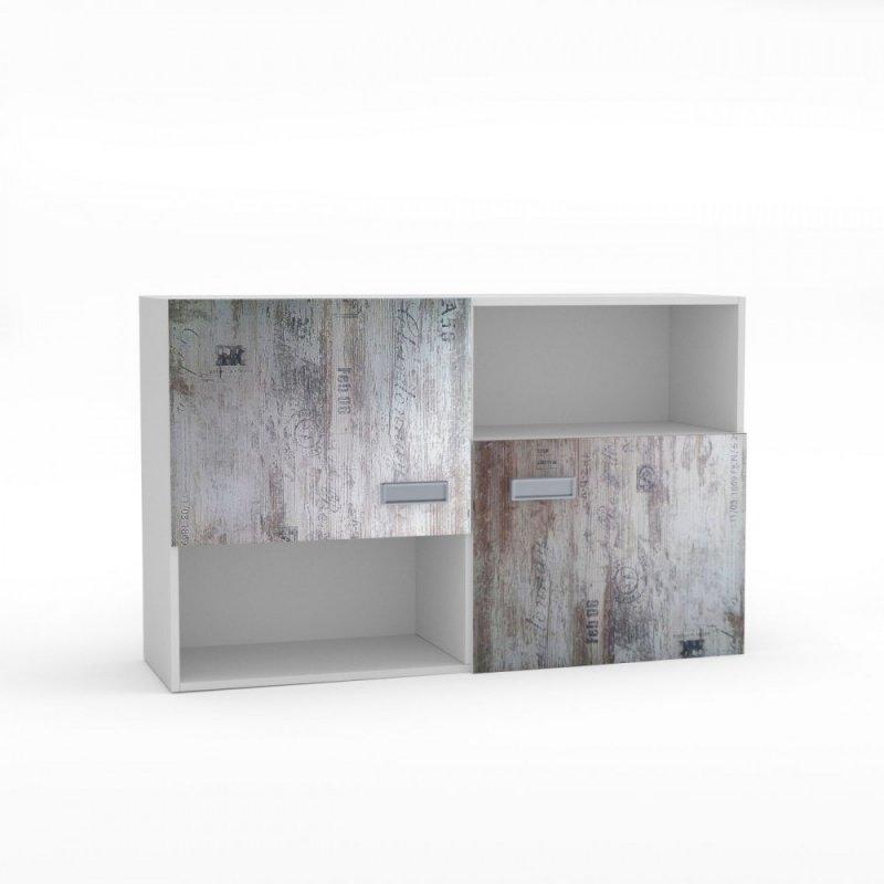 """Ραφιέρα τοίχου """"PUMP"""" σε χρώμα λευκό-λευκό αντικέ με επιγραφές 120x34x75"""