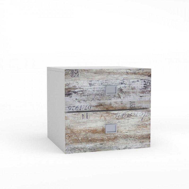 """Κομοδίνο """"PUMP"""" σε χρώμα λευκό-λευκό αντικέ με επιγραφές 45x41x43"""