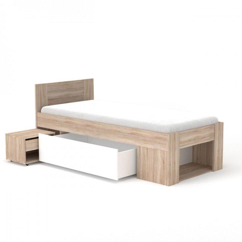 """Κρεβάτι """"RICO"""" με κομοδίνο και συρτάρι αποθήκευσης χρώματος σονομα 96x205x86"""