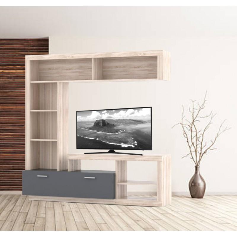 """Σύνθεση TV """"FLOKS"""" σε χρώμα σονόμα (φυσικό δρυς)-γραφίτης 170x41x170"""