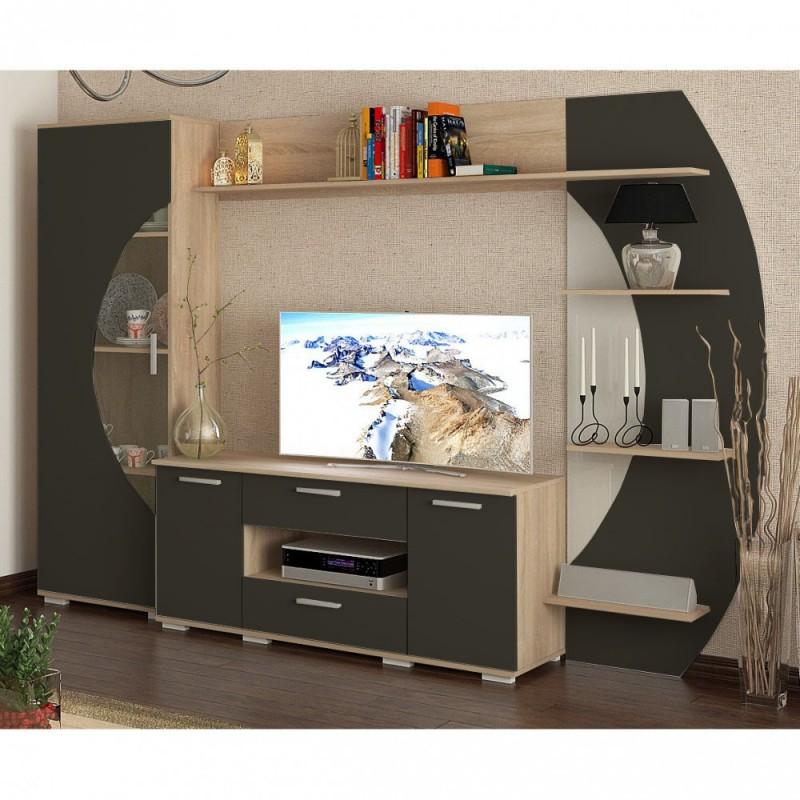 """Σύνθεση TV """"OLIMPIA"""" σε χρώμα μαύρο-σονόμα 250x49x186"""