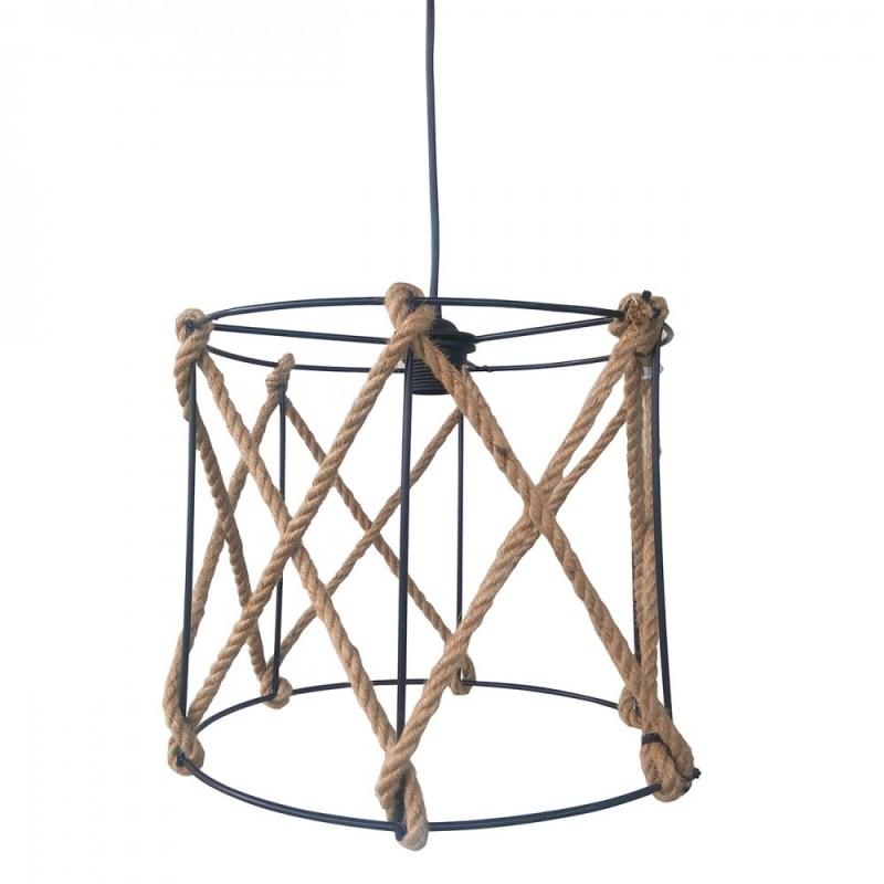 Φωτιστικό οροφής μονόφωτο μεταλλικό με σχοινί σε χρώμα μαύρο 31x31x27