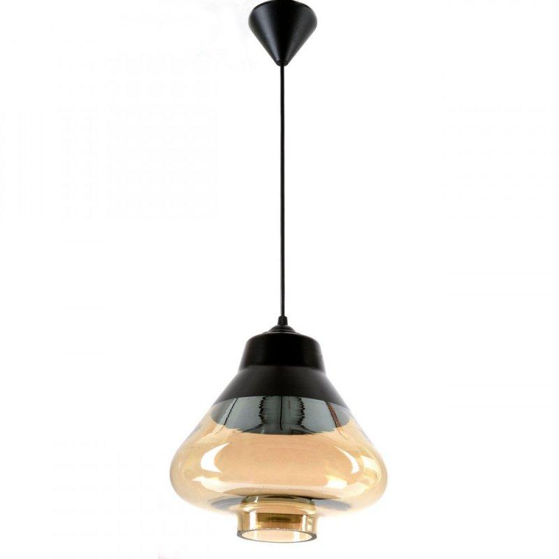 Φωτιστικό οροφής μονόφωτο γυάλινο σε μαύρο χρώμα