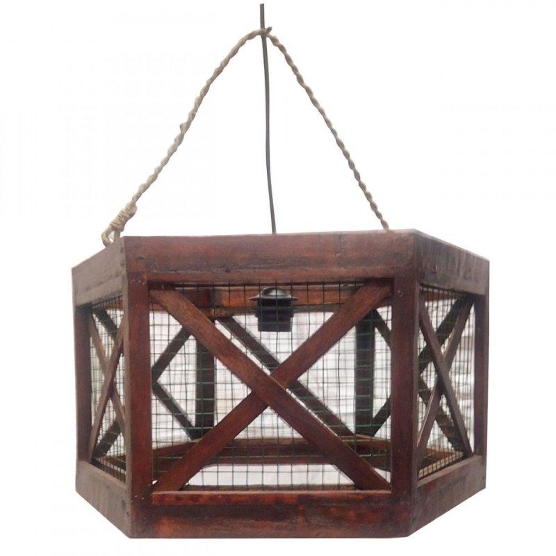 Φωτιστικό οροφής μονόφωτο ξύλινο σε καφέ χρώμα 40x40x25