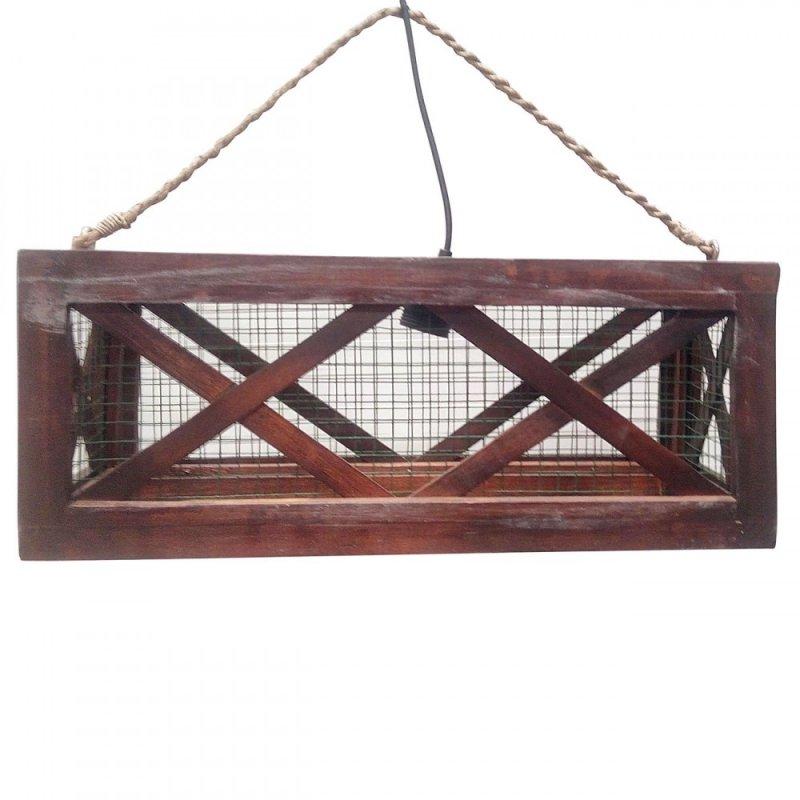 Φωτιστικό οροφής μονόφωτο ξύλινο σε καφέ χρώμα 50x15x20