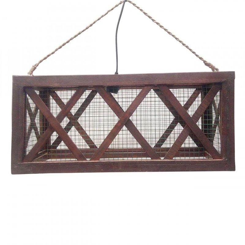 Φωτιστικό οροφής μονόφωτο ξύλινο σε καφέ χρώμα 60x25x25