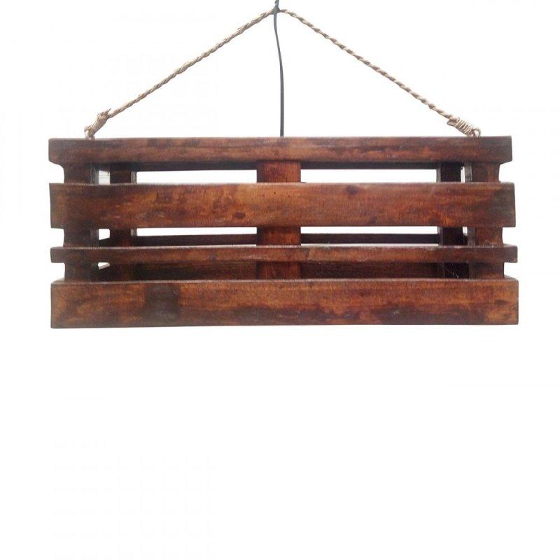 Φωτιστικό οροφής μονόφωτο ξύλινο σε καφέ χρώμα 50x18x20