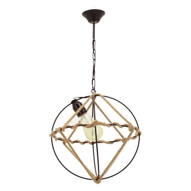"""Φωτιστικό οροφής """"RITIM 1"""" μονόφωτο μεταλλικό με σχοινί σε χρώμα μαύρο 30x30x58"""