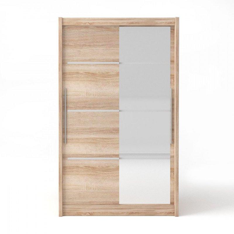 """Ντουλάπα """"ILONA""""  δίφυλλη  με συρόμενες πόρτες και καθρέφτη σε χρώμα δρυς 130x61x215"""