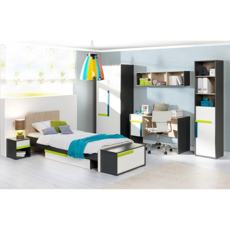 """Σετ παιδικό δωμάτιο """"ALEX""""  8τμχ σε χρώμα γραφίτης-λευκό-σονόμα"""