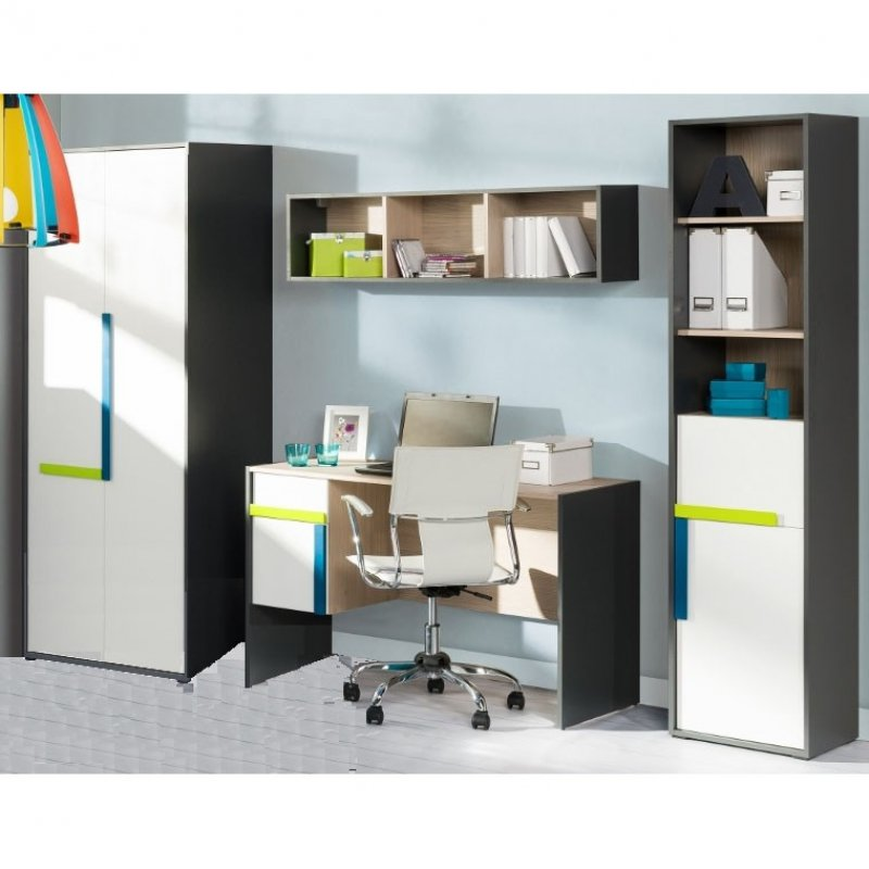 """Σετ παιδικό δωμάτιο """"ALEX"""" 4τμχ σε χρώμα λευκό-γραφίτη-σονόμα 252x60x197"""