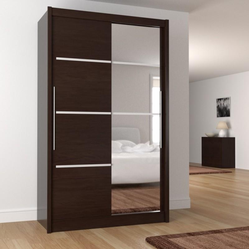 """Ντουλάπα """"ILONA"""" δίφυλλη με συρόμενες πόρτες και καθρέφτη σε χρώμα βέγγε (σοκολά) 130x61x215"""
