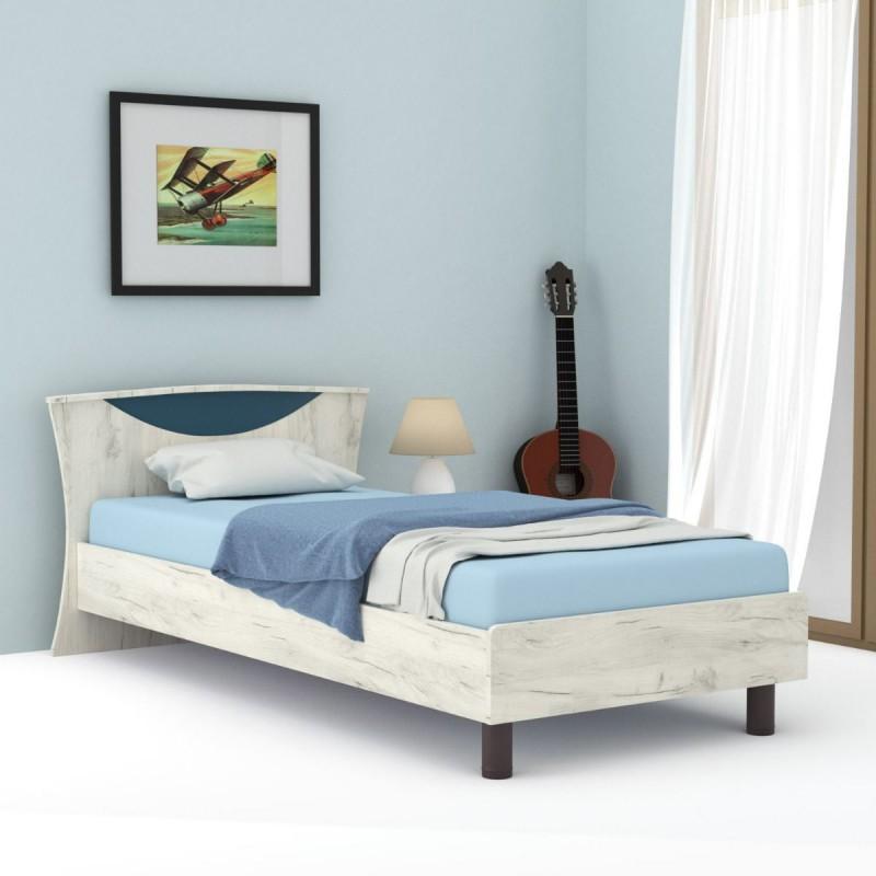 """Κρεβάτι """"DOMINO 90"""" μονό σε χρώμα δρυς-μπλε 109x147x205"""