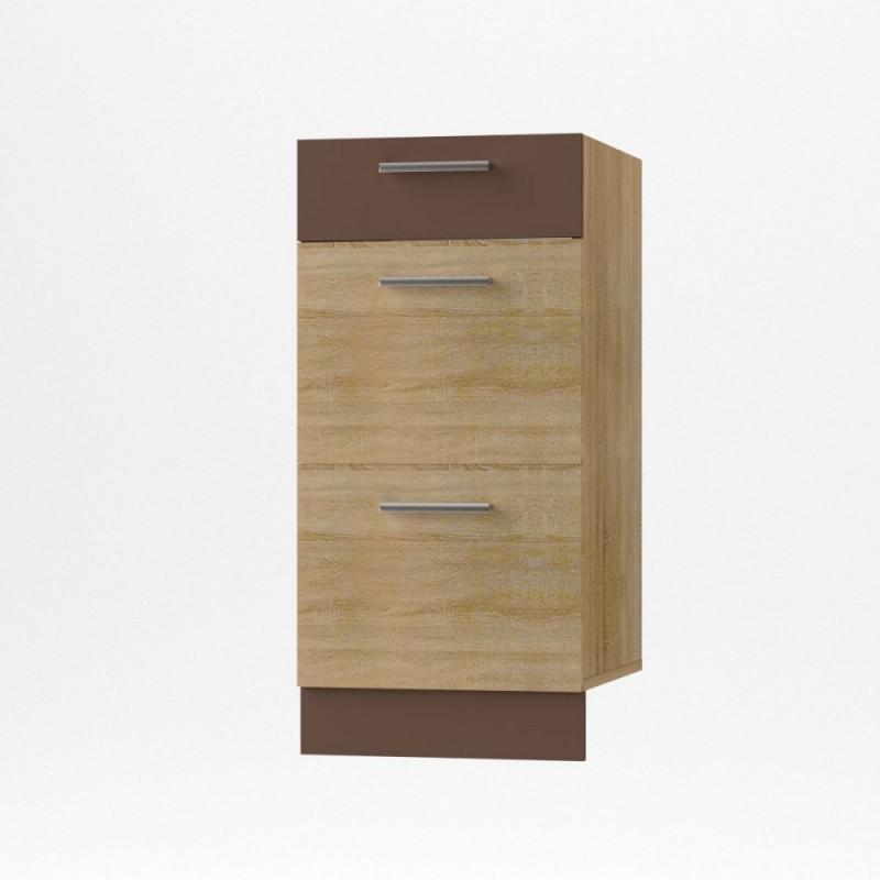 """Κάτω συρταριέρα κουζίνας """"ALINA"""" σε χρώμα σονόμα-μόκα 40x44,5x85"""