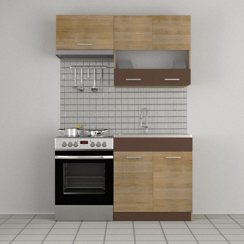 """Κουζίνα """"ALINA"""" σετ 3τμχ σε χρώμα σονόμα-μόκα 80/140x30.5/44.5"""