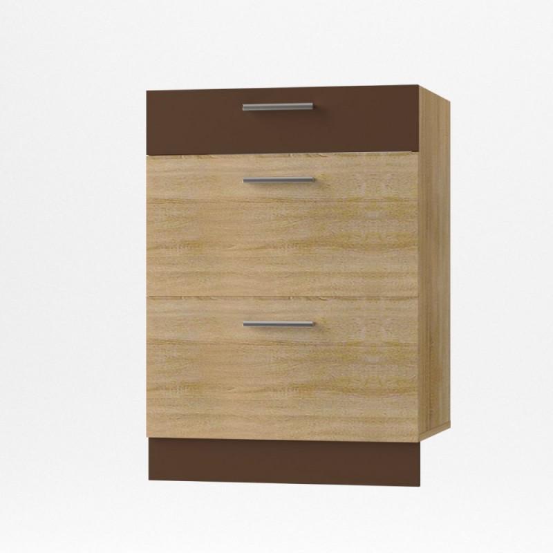 """Κάτω συρταριέρα κουζίνας """"ALINA"""" σε χρώμα σονόμα-μόκα 60x44.5x85"""
