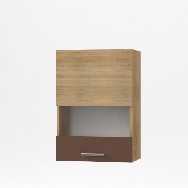 """Πάνω ντουλάπι κουζίνας """"ALINA"""" με τζάμι σε χρώμα σονόμα-μόκα 50x30,5x71,9"""