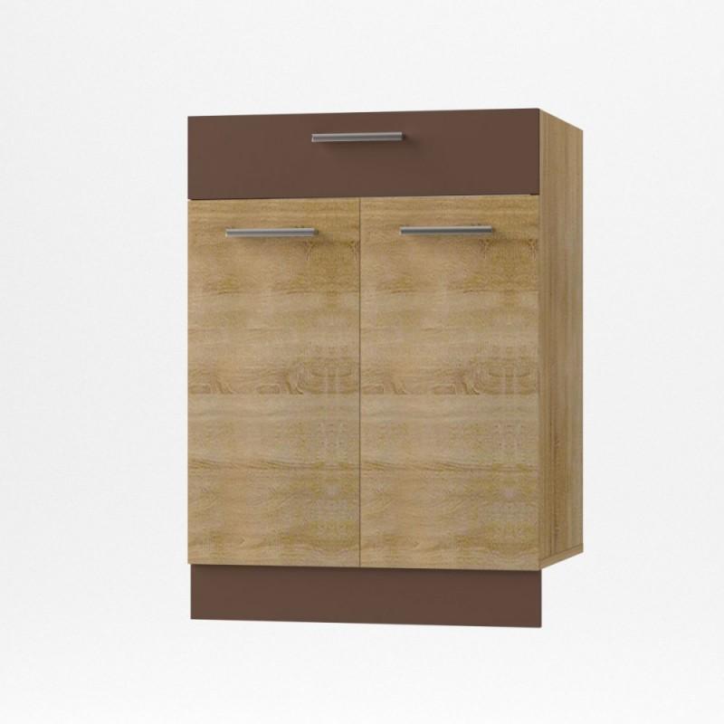 """Κάτω ντουλάπι κουζίνας με συρτάρι """"ALINA"""" σε χρώμα σονόμα-μόκα 60x44,5x85"""