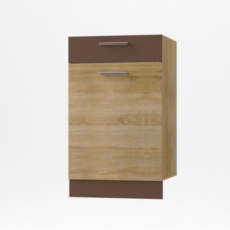 """Κάτω ντουλάπι κουζίνας με συρτάρι """"ALINA"""" σε χρώμα σονόμα-μόκα 50x44,5x85"""