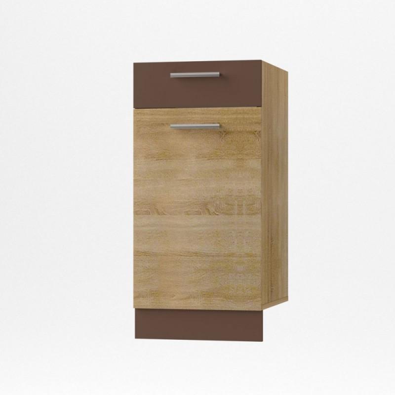 """Κάτω ντουλάπι κουζίνας με συρτάρι """"ALINA"""" σε χρώμα σονόμα-μόκα 40x44,5x85"""