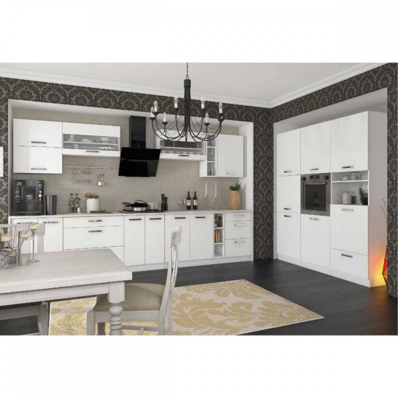 """Πάνω ντουλάπι κουζίνας """"CHARLOTΤE"""" με τζάμι σε χρώμα λευκό 60x30.5x71.8"""